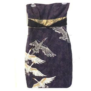 Floreat navy bird strapless dress